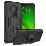 Dual Layer Rugged Tough Case Stand for Motorola Moto G7 Power - Black